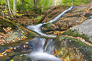 Cascade along Clough Mine Brook, a tributary of Lost River, in Kinsman Notch in North Woodstock, New Hampshire during the autumn months.