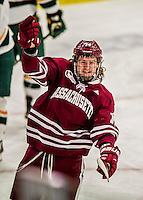 15 November 2015: University of Massachusetts Minuteman Forward Austin Plevy, a Freshman from Langley, British Columbia, celebrates a third period goal against the University of Vermont Catamounts at Gutterson Fieldhouse in Burlington, Vermont. The Minutemen rallied from a three goal deficit to tie the game 3-3 in their Hockey East matchup. Mandatory Credit: Ed Wolfstein Photo *** RAW (NEF) Image File Available ***