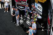 #12: Will Power, Team Penske Chevrolet celebrates winning the Big Machine Spiked Coolers Grand Prix, #51: Romain Grosjean, Dale Coyne Racing with RWR Honda, #26: Colton Herta, Andretti Autosport w/ Curb-Agajanian Honda