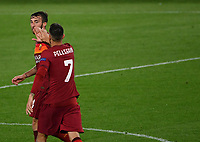 Football: Uefa Europa League - semifinal 2nd leg AS Roma vs Manchester United Olympic Stadium. Rome, Italy, May 6, 2021.<br /> Roma's Bryan Cristante (L) celebrates after scoring with his captain Lorenzo Pellegrini (R) during the Europa League football match between Roma and Manchester United at Rome's Olympic stadium, Rome, on May 6, 2021.  <br /> UPDATE IMAGES PRESS/Isabella Bonotto