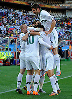 Valter Birsa of Slovenia celebrates his goal with team-mates. USA vs Slovenia in the 2010 FIFA World Cup at Ellis Park in Johannesburg, South Africa on June 18th, 2010.