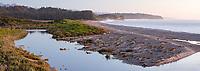 Twilight view of Three Mile beach, coastal wetland and lagoon, Westland Tai Poutini National Park, UNESCO World Heritage Area, West Coast, New Zealand, NZ