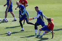 Spanish Gerard Pique, Adrian San Mateo and David de Gea  during the second training of the concentration of Spanish football team at Ciudad del Futbol de Las Rozas before the qualifying for the Russia world cup in 2017 August 30, 2016. (ALTERPHOTOS/Rodrigo Jimenez) /NORTEPHOTO