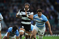 Juan Manuel Leguizamon of Barbarians (Jaguares & Argentina) runs in an early try during the Killik Cup match between the Barbarians and Argentina at Twickenham Stadium on Saturday 1st December 2018 (Photo by Rob Munro/Stewart Communications)