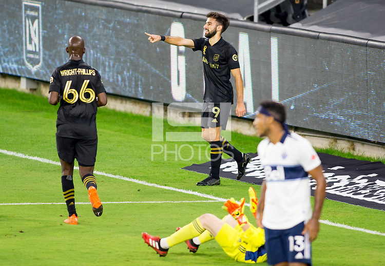 LOS ANGELES, CA - SEPTEMBER 23: Diego Rossi #9 of the Los Angeles football club celebrates his goal with team mate Bradley Wright-Phillips #66 during a game between Vancouver Whitecaps and Los Angeles FC at Banc of California Stadium on September 23, 2020 in Los Angeles, California.