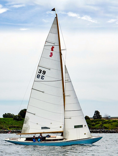 The National YC's flagship in San Diego. Johnny Smullen's classically-restored International One Design Altair slipping effortlessly along in Californian waters