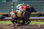 CERRITOS, CA  JULY 14:  #2 Blended Citizen, ridden by Kyle Frey, inside, and #4 Once On Whiskey, ridden by Flavien Prat, pass the wire ifirst time around in the Los Alamitos Derby (Grade lll)  on July 14, 2018, at Los Alamitos Race Course in Cerritos, CA.(Photo by Casey Phillips/Eclipse Sportswire/Getty Images)