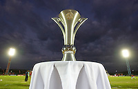 The CONCACAF U-17 Mens Championship trophy stands at the finals of the CONCACAF Men's Under 17 Championship at Catherine Hall Stadium in Montego Bay, Jamaica. The United States defeated Canada, 3-0, in overtime