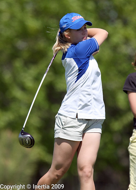 SIOUX FALLS, SD - MAY 19:  Jordan Bormann of Parkston watches her drive on the fourth hole of the final round at the 2009 Class A Girls Golf Championship at Central Valley Golf Course in Hartford. (Photo by Dave Eggen/Inertia).