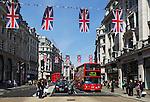 United Kingdom, London: Regent street with Union Jacks | Grossbritannien, England, London: Regent street mit Union Jacks