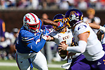 Southern Methodist Mustangs defensive tackle Elijah Chatman (93) in action during the game between the East Caroline Pirates  and the SMU Mustangs at the Gerald J. Ford Stadium in Fort Worth, Texas.