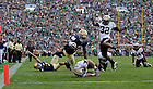 Running back Armando Allen (5) dives into the end zone for ND's first score, with Michael Floyd (3) signaling the TD...Photo by Matt Cashore