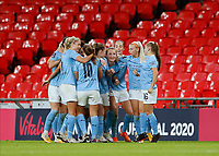 1st November 2020; Wembley Stadium, London, England; Womens FA Cup Final Football, Everton Womens versus Manchester City Womens; Georgia Stanway of Manchester City Women celebrates with her team mates after scoring her sides 2nd goal in 2nd half of Extra Time to make it 1-2