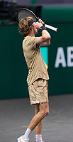 Rotterdam, The Netherlands, 3 march  2021, ABNAMRO World Tennis Tournament, Ahoy, Second round match: Andrey Rublev (RUS).<br /> Photo: www.tennisimages.com/henkkoster