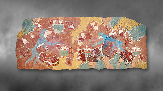 The Minoan 'Saffron Gatherer' wall art fresco, from 'House of Frescoes' Knossos Palace. 1700-1450 BC. Heraklion Archaeological Museum.  Grey Background. <br /> <br /> The 'Saffron Gatherers' fresco depicts a blue monket gatering saffron crocuses and placing them in a basket. The saffron is thought to have been a gift to the 'Great Goddess'. One of the earliest frescoes from Knossos.