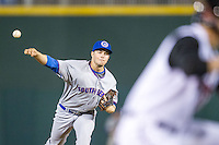 South Bend Cubs pitcher Scott Effross (32) delivers a pitch to the plate against the Lansing Lugnuts on May 12, 2016 at Cooley Law School Stadium in Lansing, Michigan. Lansing defeated South Bend 5-0. (Andrew Woolley/Four Seam Images)