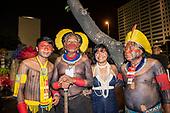 Imperatriz Leopolinense Samba School, Carnival, Rio de Janeiro, Brazil, 26th February 2017. Beptuk Metuktire, Chief Raoni Metuktire, Ysani Kalapalo and Megaron Txucarrhamãe before the parade in the sambadrome.