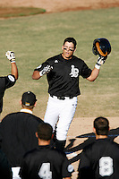 Steve Tinoco of the Cal State Long Beach 49'ers during a game against the Texas Longhorns at Blair Field on February 11, 2007 in Long Beach, California. (Larry Goren/Four Seam Images)