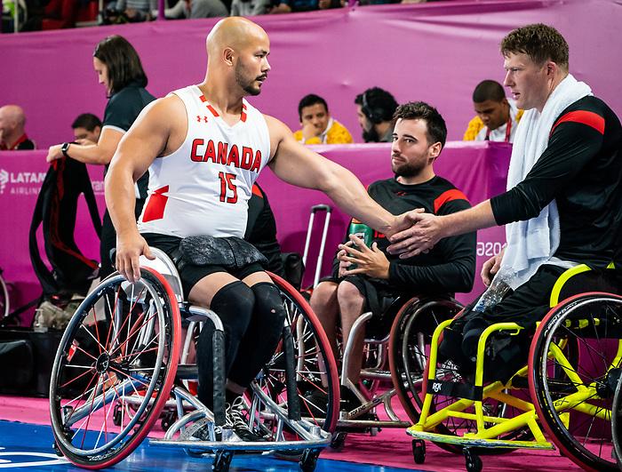 David Eng and Patrick Anderson, Lima 2019 - Wheelchair Basketball // Basketball en fauteuil roulant.<br /> Men's wheelchair basketball takes on Colombia in the semifinal game // Le basketball en fauteuil roulant masculin affronte la Colombie en demi-finale. 30/08/2019.