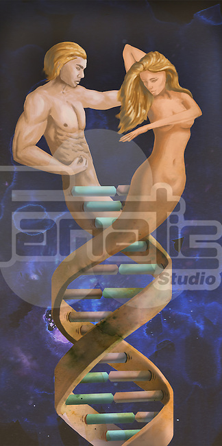 Male and female figures representing DNA molecular structure