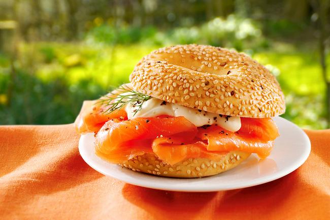 smoked salmon & mayonese bagel.