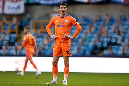 21st November 2020; The Den, Bermondsey, London, England; English Championship Football, Millwall Football Club versus Cardiff City; Kieffer Moore of Cardiff City