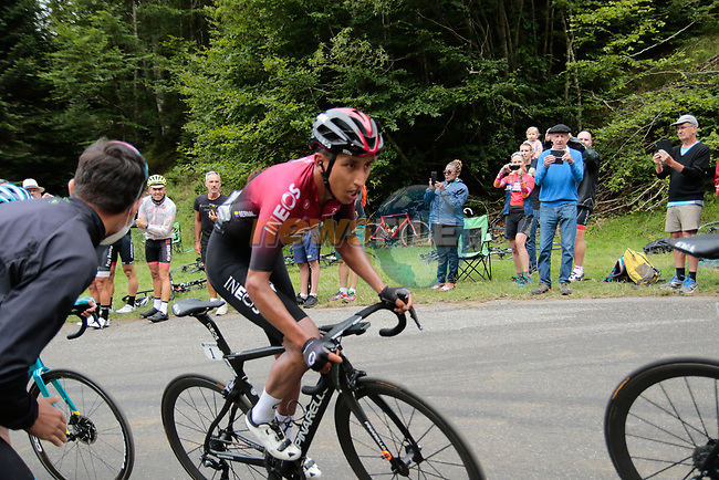 Pavel Sivakov (RUS) leads team mate Egan Bernal (COL) Team Ineos into the final bend before the finish of Stage 3 of the Route d'Occitanie 2020, running 163.5km from Saint-Gaudens to Col de Beyrède, France. 3rd August 2020. <br /> Picture: Colin Flockton   Cyclefile<br /> <br /> All photos usage must carry mandatory copyright credit (© Cyclefile   Colin Flockton)