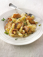Sauteed wiild organic Pied de Mouton Mushrooms (hydnum repandum) or hedgehog mushroom with Casarecce Siciliane pasta