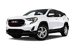 Stock pictures of low aggressive front three quarter view of a 2018 GMC Terrain SLE FWD 5 Door SUV