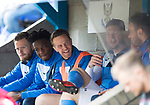 St Johnstone v Motherwell…07.04.18…  McDiarmid Park    SPFL<br />Chris Millar having a laugh with Liam Gordon on the bench<br />Picture by Graeme Hart. <br />Copyright Perthshire Picture Agency<br />Tel: 01738 623350  Mobile: 07990 594431