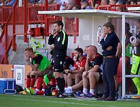 Manager Gareth Ainsworth of Wycombe Wanderers looking thoughtful during the Sky Bet League 2 match between Crawley Town and Wycombe Wanderers at Broadfield Stadium, Crawley, England on 6 August 2016. Photo by Alan  Stanford / PRiME Media Images.
