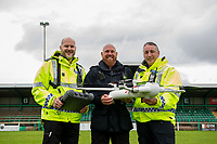 Pictured: (L-R) Sargent James Bailey, Inspector Gavin Clifton and PC Tony Parker with the sky mantis drone at Caerphilly RFC, Wales, UK. Thursday 13 June 2019<br /> Re: Gwent Police Force has held a live demonstration of their brand new, purpose built police drones, on the grounds of Caerphilly RFC, Wales, UK.<br /> The Force now has 25 specially trained and qualified officers who are also drone pilots giving 24/7 coverage. <br /> All officers have passed a Civil Aviation Authority (CAA) accredited training and are qualified remote pilots.