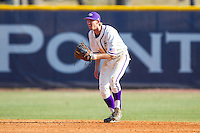 High Point Panthers shortstop Tony Fortier-Bensen (8) on defense against the Bowling Green Falcons at Willard Stadium on March 9, 2014 in High Point, North Carolina.  The Falcons defeated the Panthers 7-4.  (Brian Westerholt/Four Seam Images)