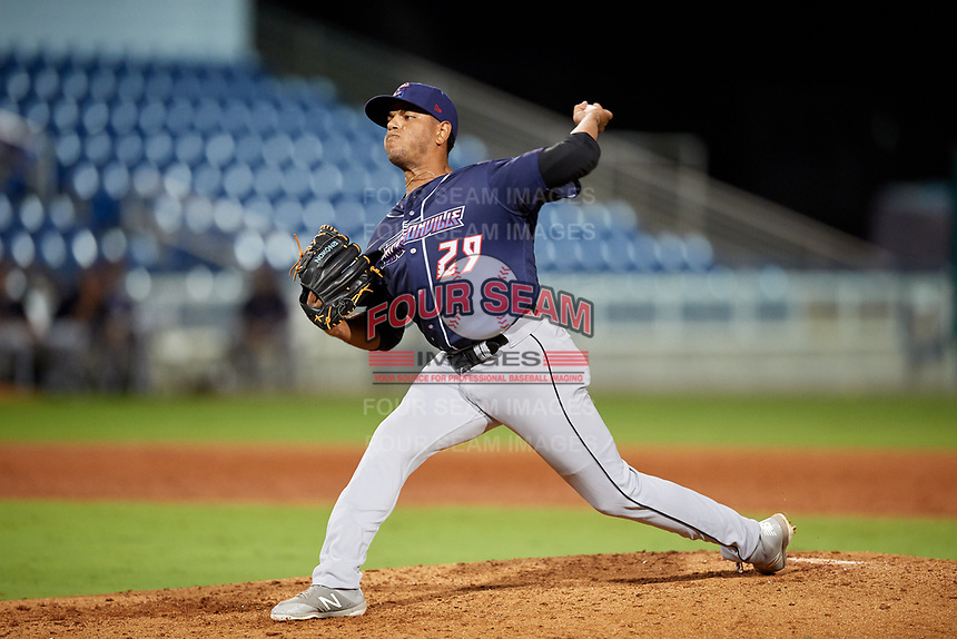 Jacksonville Jumbo Shrimp relief pitcher Miguel Del Pozo (29) delivers a pitch during a game against the Pensacola Blue Wahoos on August 15, 2018 at Blue Wahoos Stadium in Pensacola, Florida.  Jacksonville defeated Pensacola 9-2.  (Mike Janes/Four Seam Images)