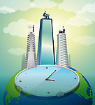 Conceptual image of clock with globe in background