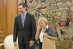 King Felipe VI of Spain receives Madrid's new Mayor, Manuela Carmena, during an official meeting at Zarzuela Palace in Madrid, Spain. July 03, 2015. (ALTERPHOTOS/Victor Blanco)