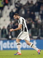 Calcio, Serie A: Juventus vs Roma. Torino, Juventus Stadium,17 dicembre 2016. <br /> Juventus' Giorgio Chiellini celebrates at the end of the Italian Serie A football match between Juventus and Roma at Turin's Juventus Stadium, 17 December 2016. Juventus won 1-0.<br /> UPDATE IMAGES PRESS/Isabella Bonotto