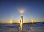 sundogs surrounding an ice block