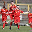 Robert Love (7) celebrates after he scores Albion Rovers' second goal ......