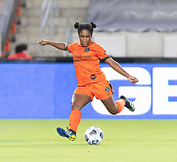 HOUSTON, TEXAS - SEPTEMBER 10: Jasmine Spencer #22 of the Houston Dash takes a shot at the Chicago goal during a game between Chicago Red Stars and Houston Dash at BBVA Stadium on September 10, 2021 in Houston, Texas.