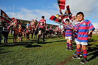The teams take the field for the Mitre 10 Cup rugby match between Canterbury and Tasman Makos at Orangetheory Stadium in Christchurch, New Zealand on Friday, 5 July 2019. Photo: Martin Hunter / lintottphoto.co.nz