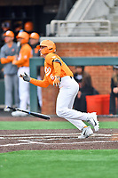 Tennessee Volunteers left fielder Evan Russell (6) swings at a pitch during a game against the Appalachian State Mountaineers at Lindsey Nelson Stadium on February 16, 2019 in Knoxville, Tennessee. The Volunteers defeated Mountaineers 2-0. (Tony Farlow/Four Seam Images)