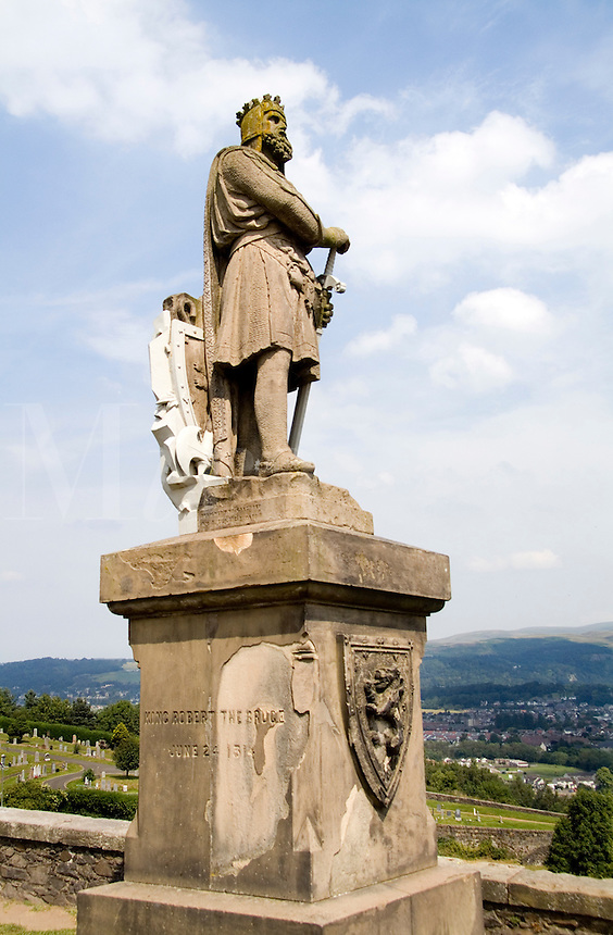 Statue of famous King Robert The Bruce in 1314 at the Stirling Castle in Stirling Scotland