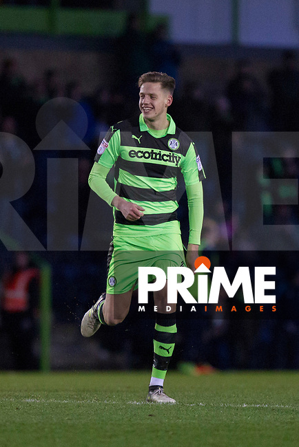 Jack Fitzwater of Forest Green Rovers celebrates scoring his side's first goal during the Sky Bet League 2 match between Forest Green Rovers and Wycombe Wanderers at The New Lawn, Nailsworth, England on 1 January 2018. Photo by Mark  Hawkins / PRiME Media Images.