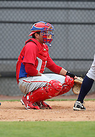 March 25, 2010:  Catcher Jorge Guerra of the Philadelphia Phillies organization during a Spring Training game at the Carpenter Complex in Clearwater, FL.  Photo By Mike Janes/Four Seam Images