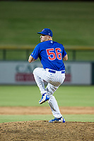 AZL Cubs relief pitcher Sean Barry (56) delivers a pitch during a game against the AZL Brewers on August 1, 2017 at Sloan Park in Mesa, Arizona. Brewers defeated the Cubs 5-4. (Zachary Lucy/Four Seam Images)