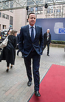 Pictured: British Prime Minister David Cameron Thursday 18 February 2016<br />Re: David Cameron looks set to secure European Union deal on Britain's reforms during a summit in Brussels, Belgium.