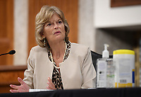 United States Senator Lisa Murkowski (Republican of Alaska), of the Senate Health, Education, Labor and Pensions (HELP) Committee, asks questions during a hearing on Capitol Hill in Washington DC on Tuesday, June 30, 2020.  Dr. Anthony Fauci, director of the National Institute for Allergy and Infectious Diseases, and other government health officials updated the Senate on how to safely get back to school and the workplace during the COVID-19 pandemic.<br /> Credit: Kevin Dietsch/CNP/AdMedia