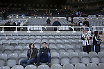 Newcastle United 1 Tottenham Hotspur 3 19/04/2015. St James Park, Premier League. Home supporters in the Gallowgate End at the end of the match as Newcastle United hosted Tottenham Hotspurs in an English Premier League match at St. James' Park. The match was boycotted by a section of the home support critical of the role of owner Mike Ashley and sponsorship by a payday loan company. The match was won by Spurs by 3-1, watched by 47,427, the lowest league gate of the season at the stadium. Photo by Colin McPherson.