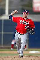 Derek Peterson #43 of the Gonzaga Bulldogs pitches against the Loyola Marymount Lions at Page Stadium on March 28, 2013 in Los Angeles, California. (Larry Goren/Four Seam Images)